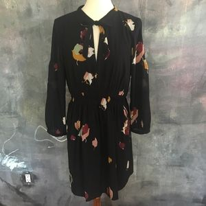 *Like New* Madewell Black Floral Tie Neck Dress